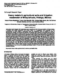 Heavy metals In agricultural soils and Irrigation ... - Academic Journals