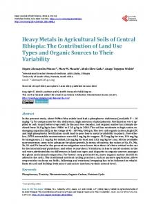 Heavy Metals in Agricultural Soils of Central Ethiopia - Scientific ...
