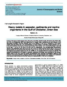 Heavy metals in seawater, sediments and marine organisms in the ...