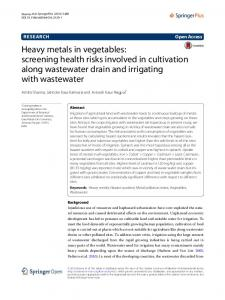 Heavy metals in vegetables - CORE