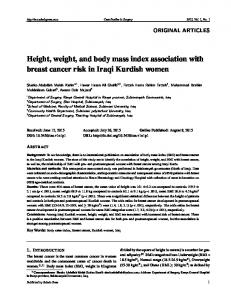 Height, weight, and body mass index association with ... - Sciedu Press