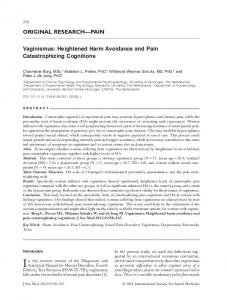 Heightened Harm Avoidance and Pain ... - Wiley Online Library
