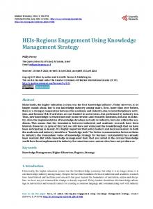 HEIs-Regions Engagement Using Knowledge Management Strategy