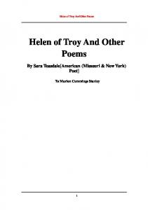 Helen of Troy And Other Poems By Sara Teasdale [American ...