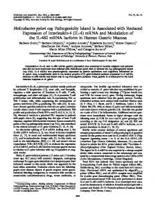 Helicobacter pylori cag Pathogenicity Island Is Associated with ...