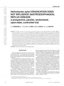 Helicobacter pylori eradication does not influence gastroesophageal ...