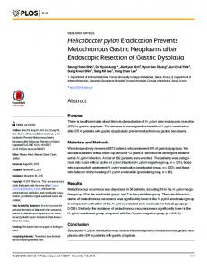 Helicobacter pylori Eradication Prevents Metachronous Gastric ... - PLOS