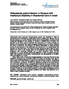 Helicobacter pylori Infection in Persons with ...