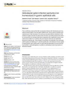 Helicobacter pylori infection perturbs iron homeostasis in ... - PLOS