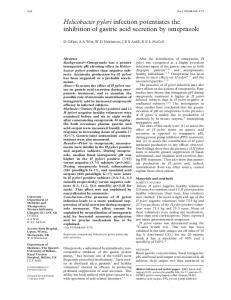 Helicobacter pylori infection potentiates the inhibition of gastric ... - NCBI