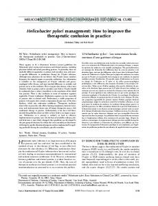 Helicobacter pylori management: How to improve the ... - Hindawi