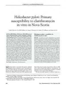 Helicobacter pylori: Primary susceptibility to clarithromycin ... - Hindawi
