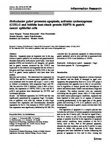 Helicobacter pylori promotes apoptosis, activates ... - BioMedSearch
