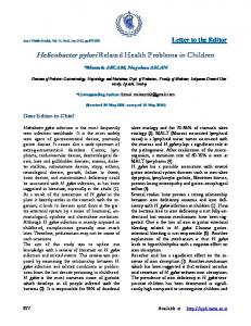 Helicobacter pylori Related Health Problems in Children