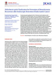 Helicobacter pyloriEradication for Prevention of ... - KoreaMed Synapse