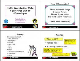 Hello Worldwide Web: Your First JSF in JDeveloper - NoCOUG