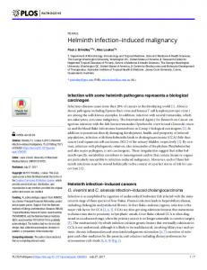 Helminth infection#_#x2013;induced malignancy - PLOS
