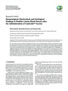 Hematological, Biochemical, and Serological Findings in Healthy ...