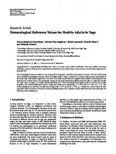 Hematological Reference Values for Healthy Adults in Togo