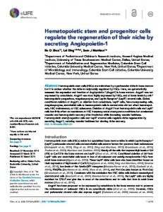 Hematopoietic stem and progenitor cells regulate the