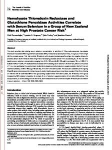 Hemolysate Thioredoxin Reductase and Glutathione ...