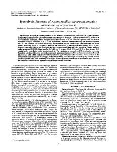 Hemolysin Patterns of Actinobacillus pleuropneumoniae - NCBI