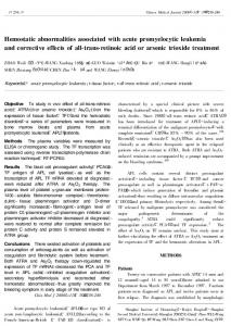 Hemostatic abnormalities associated with acute ...