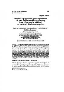 Hepatic lipogenesis gene expression in two ... - BioMedSearch