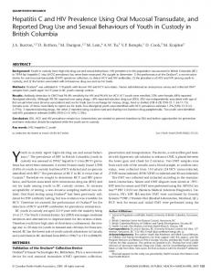Hepatitis C and HIV Prevalence Using Oral Mucosal Transudate, and ...