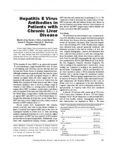 Hepatitis E Virus Antibodies in Patients with Chronic Liver Disease