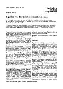 Hepatitis E virus (HEV) infection in haemodialysis patients