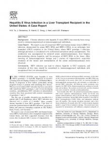 Hepatitis E Virus Infection in a Liver Transplant Recipient in the United ...