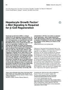 Hepatocyte Growth Factor/ c-Met Signaling Is Required for ... - Diabetes