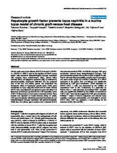 Hepatocyte growth factor prevents lupus nephritis in a ... - Springer Link
