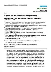 Hepcidin and Iron Homeostasis during Pregnancy - BioMedSearch