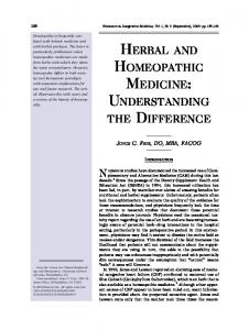 herbal and homeopathic medicine: understanding the ...
