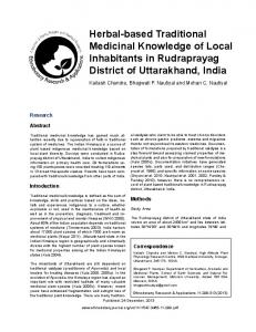 Herbal-based Traditional Medicinal Knowledge of Local Inhabitants in ...