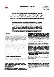 Herbal medicinal plants as an anticancer agents