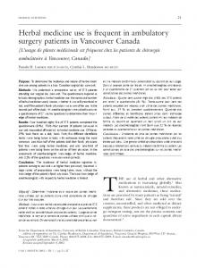 Herbal medicine use is frequent in ambulatory surgery patients in ...