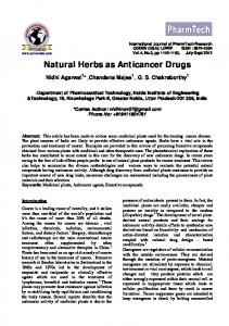 Herbs As Cancer Saver Drugs - International Journal of ChemTech ...