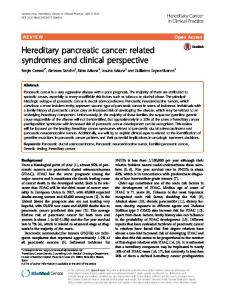 Hereditary pancreatic cancer - Hereditary Cancer in Clinical Practice