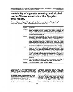 Heritability of cigarette smoking and alcohol use in ... - Oxford Academic