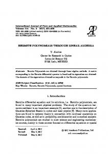 HERMITE POLYNOMIALS THROUGH LINEAR ALGEBRA V ... - ijpam