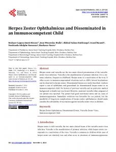Herpes Zoster Ophthalmicus and Disseminated in an ...