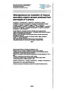 Heterogeneous ice nucleation of viscous secondary ...