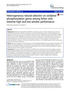 Heterogeneous natural selection on oxidative ... - Springer Link