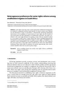 Heterogeneous preferences for water rights reforms among ...