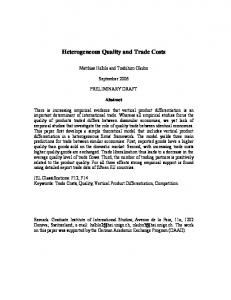 Heterogeneous Quality and Trade Costs - European Trade Study Group