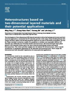 Heterostructures based on two-dimensional layered ... - CyberLeninka