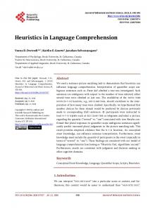 Heuristics in Language Comprehension